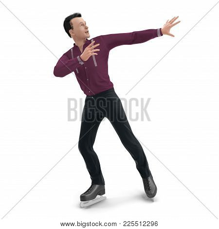 Figure Skater On White Background. Front View. 3d Illustration