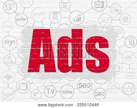 Marketing Concept: Painted Red Text Ads On White Brick Wall Background With Scheme Of Hand Drawn Mar