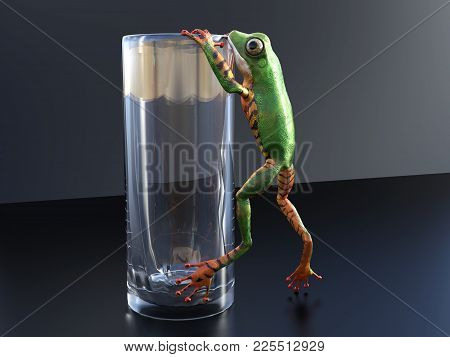 Realistic 3d Rendering Of A Green And Orange Colored Tree Frog Climbing/hanging On An Empty Glass.