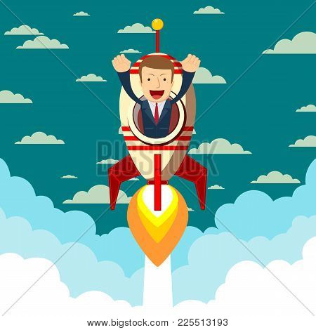 Happy Businessman On A Rocket Ship Launching To Starry Sky. Start Up Business Concept. Stock Flat Ve