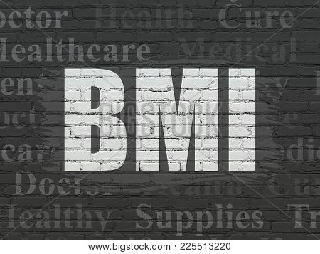 Medicine Concept: Painted White Text Bmi On Black Brick Wall Background With  Tag Cloud
