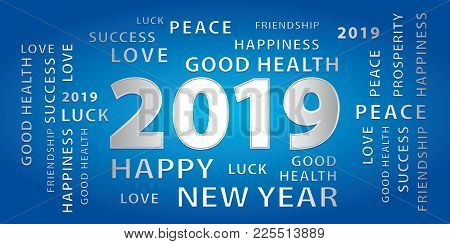 2019 Happy New Year Greetings Vector Banner. Blue And Silver.