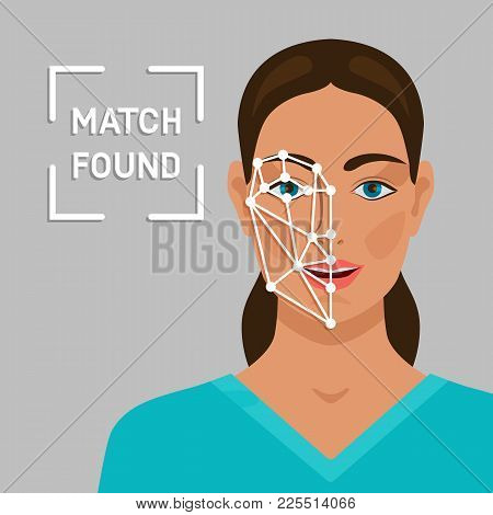 Facial Recognition Concept With A Female Face. Vector Illustration - Eps 10