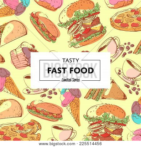 Tasty Fast Food Poster With Takeaway Snacks. Restaurant Menu Cover, Delicious Street Food Vector Ill