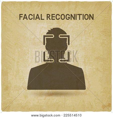 Facial Recognition System Vintage Background. Vector Illustration - Eps 10