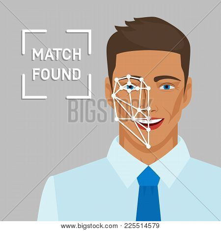 Facial Recognition Concept With Male Face. Vector Illustration - Eps 10