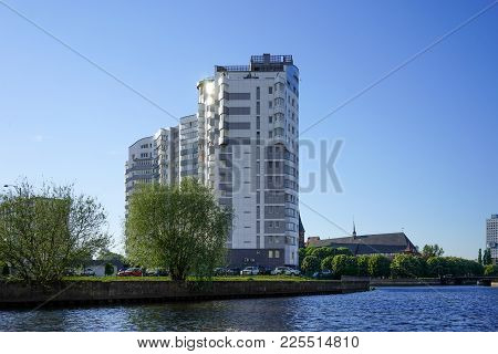 Kaliningrad, Russia - May 11, 2016: The Pregolya River And Modern Building On A Beautiful Promenade