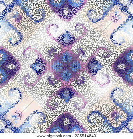 Seamless Background Pattern. Irregular Decorative Geometric Mosaic Art Tile Pattern From Uneven Brok
