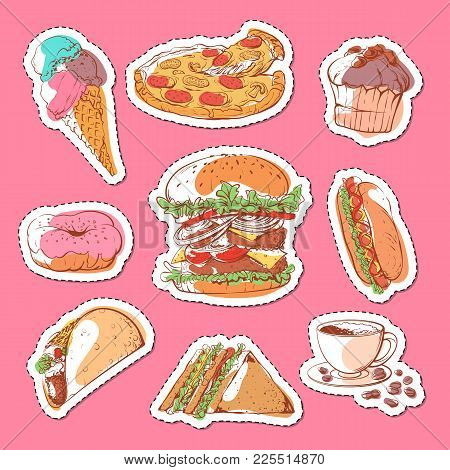 Fast Food Isolated Labels Set. Sandwich, Muffin, Ice Cream, Taco, Donut, Hot Dog, Cup Of Coffee, Piz