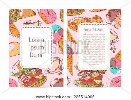 Street Food Menu Cover With Fast Food Sketches. Taco, Donut, Hot Dog, Cup Of Coffee, Ice Cream, Pizz