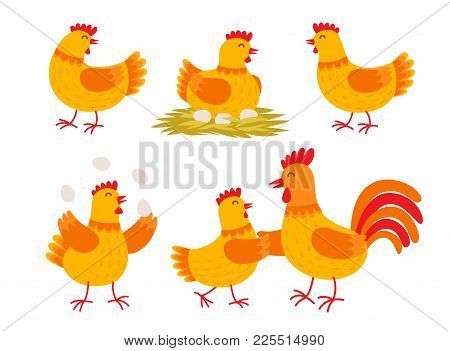 Happy Hen Cartoon Character In Different Poses Isolated On White Background. Hen And Rooster Vector