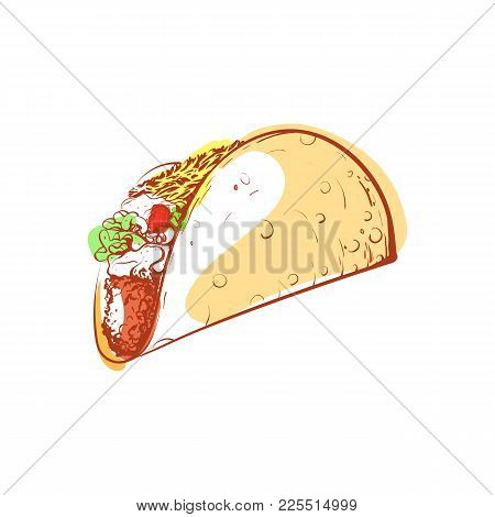 Tasty Mexican Taco Icon Isolated On White Background. Fast Food Label, Restaurant Takeaway Menu, Del