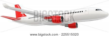 High Detailed White Airliner With A Red Tail Wing, 3d Render On A White Background. Airplane Take Of