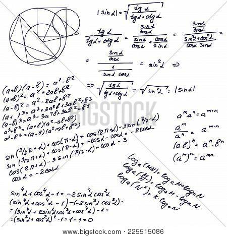 Education Seamless Pattern Background. Mathematical Formula On Whiteboard. Vector Illustration.