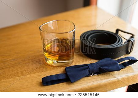 Blue Necktie And Glass Of Whiskey, Black Leather Belt
