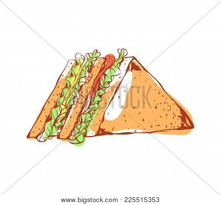 Tasty Sandwich Icon Isolated On White Background. Fast Food Label, Restaurant Takeaway Menu, Delicio