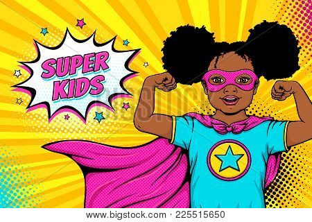 Wow Face. Cute Surprised Afro American Black Little Girl Dressed Like Superhero Shows Her Power And