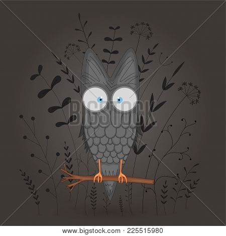 Gift Postcard With Cartoon Animal Owl. Decorative Floral Background With Branches And Plants. Postca