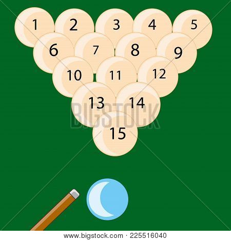 The Play Billiards And Balls With Cue.vector Illustration