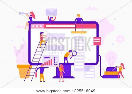 Small People Around A Monitor Make A Web Site Infographic. Teamwork Business Concept. Business Worke