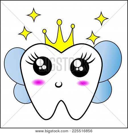 A Cute Tooth Fairy Character. Flat Vector Illustration. Dental Health Logo. Tooth Fairy With Wings,