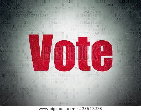 Political Concept: Painted Red Word Vote On Digital Data Paper Background