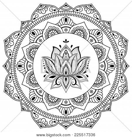 Circular Pattern In The Form Of A Mandala. Henna Tatoo Mandala. Mehndi Style. Decorative Pattern In
