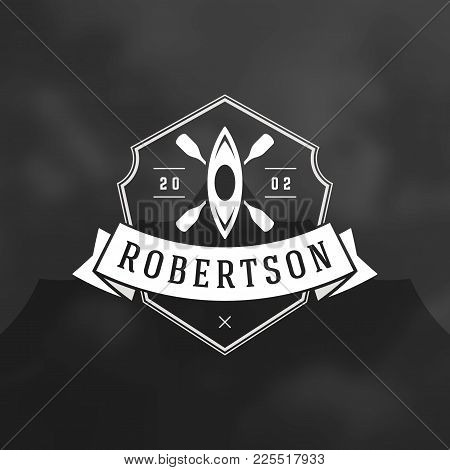 Rafting Logo Emblem Vector Illustration.outdoor Adventure Expedition, Boat And Paddles Silhouettes S