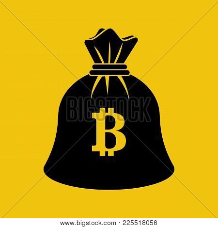 Bag Coin Bitcoin Black Icon. Silhouette Mining Crypto Currency. Digital Money. Vector Illustration F