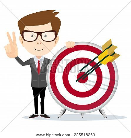 Cartoon Business Man Holding A Dart Board With A Direct Hit On Target. Concept Of Personal Coaching