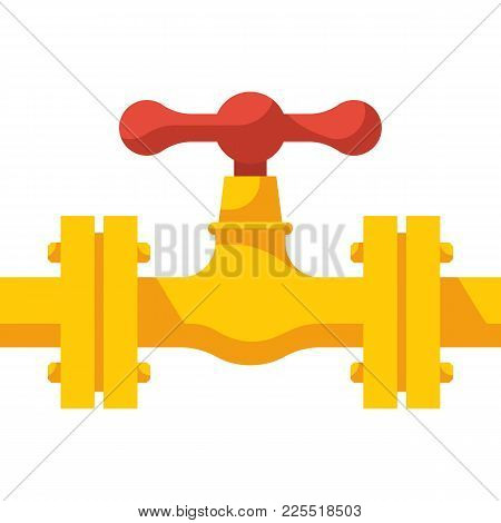 Gas Pipeline With Valve. Vector Illustration Flat Design. Industry System Isolated On White Backgrou