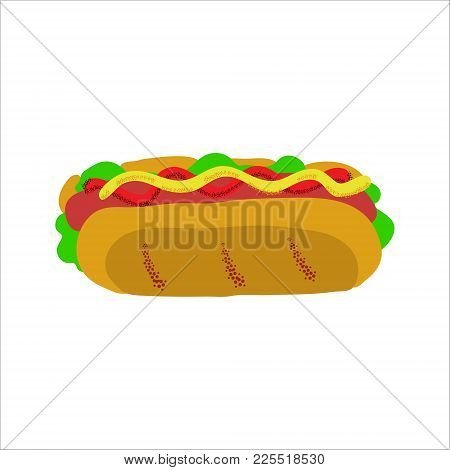 Vector Illustration In Retro Style For Memorial Day Holiday Celebration With Hot Dog