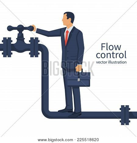 Flow Control. Vector Illustration Flat Design. Isolated On White Background. Businessman Standing On