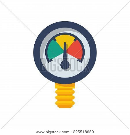 Manometer Pressure. Isolated On White Background. Vector Illustration Flat Design. Sensor To The Pip