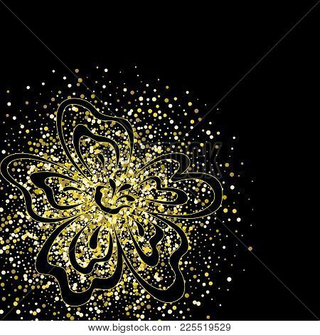Luxurious, Mysterious, Vintage, Abstract Splash Of Liquid Gold On A Black Background. Abstract Flowe