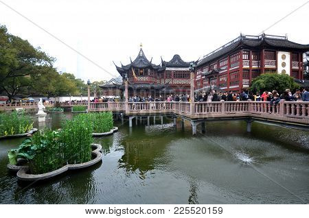 Shanghai, China- Dec 26, 2017: Yu Yuan (yu Garden) Old Street In Shanghai, China - Old Buildings Wit