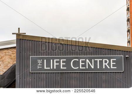 Northampton Uk January 5, 2018: The Life Centre Logo Sign In Northampton Town Centre.