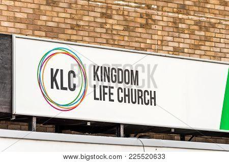 Northampton Uk January 5 2018: Kingdom Life Church Logo Sign In Northampton Town Centre.