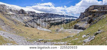 Panoramic View In Ordesa Valley, Aragon, Spain