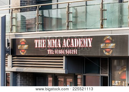 Northampton Uk January 05, 2018: The Mma Academy Logo Sign In Sol Northampton Town Centre.