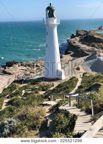 Castle Point Lighthouse Newzealand Last Piece Of Land