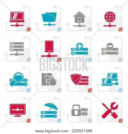 Stylized Server, Hosting And Internet Icons - Vector Icon Set
