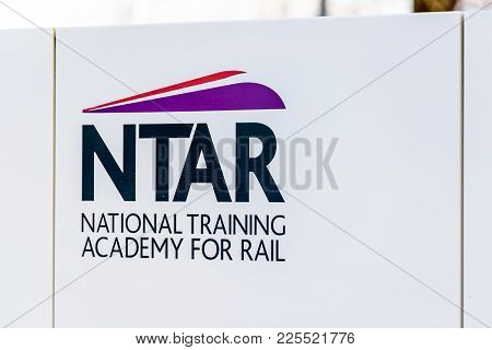 Northampton Uk January 06 2018: National Training Academy For Rail Ntar Logo Sign Post.