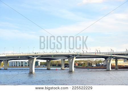 Western High Speed Diameter - intracity turnpike in St. Petersburg, Russia. poster