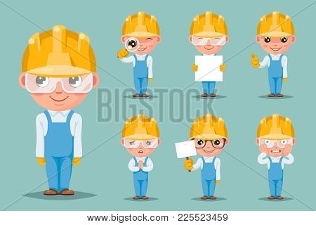 Builder Engineer Technician Mechanic Cute Mascot Happy Support Approval Characters Cartoon Set Desig