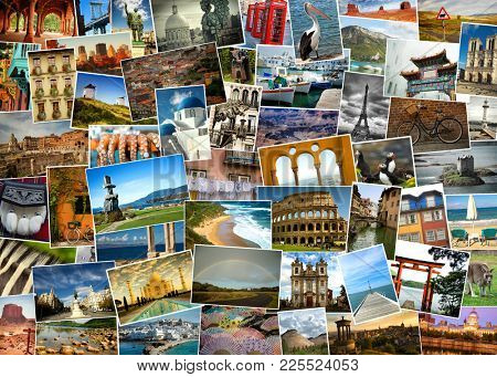 Collage from fabulous location from everywhere, landmark, landscape and  animals