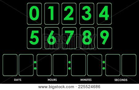 Countdown Timer Mockup With Green Digits. Vector Illustration