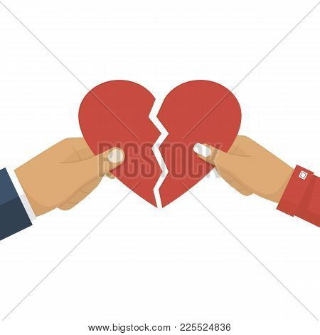 Man And Female Holding Two Halves Of Broken Heart On White Background. Breakup Heart Concept. Crisis