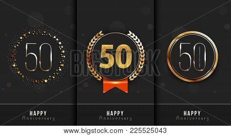 Set Of 50th Happy Anniversary Cards Template.