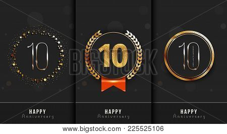 Set Of 10th Happy Anniversary Cards Template.